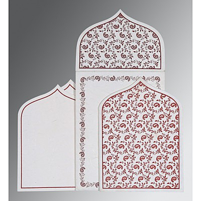 Ivory Handmade Silk Paisley Themed - Glitter Wedding Invitation : CIN-8208I - IndianWeddingCards