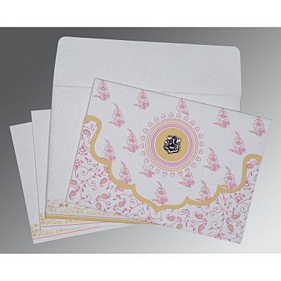 Ivory Handmade Silk Screen Printed Wedding Invitation : CIN-8207I - IndianWeddingCards
