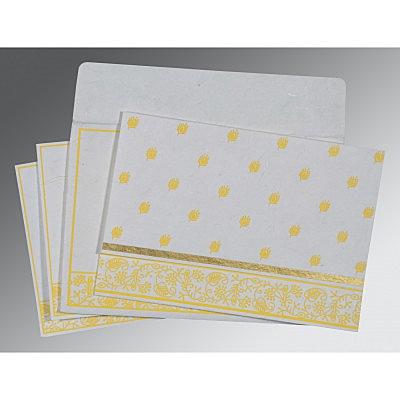 Ivory Handmade Silk Screen Printed Wedding Card : CS-8215H - IndianWeddingCards
