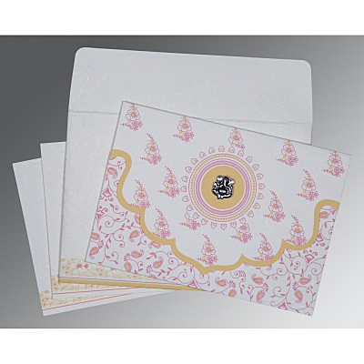 Ivory Handmade Silk Screen Printed Wedding Invitation : CW-8207I - IndianWeddingCards