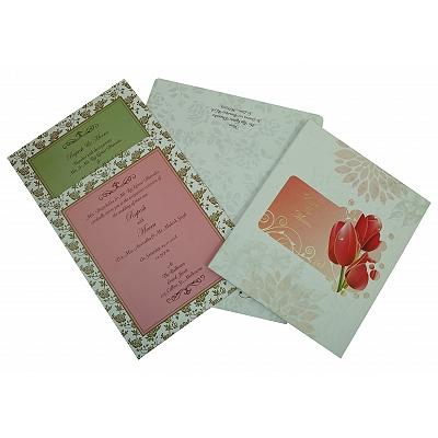 Ivory Matte Box Themed - Foil Stamped Wedding Invitation : CC-1825 - IndianWeddingCards