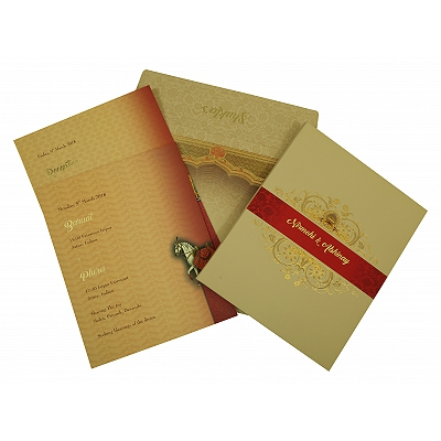 Ivory Matte Box Themed - Foil Stamped Wedding Invitation : CD-1828 - IndianWeddingCards