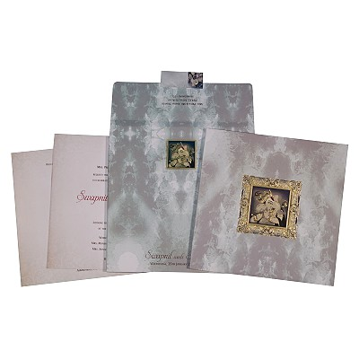 Ivory Matte Box Themed - Foil Stamped Wedding Card : CW-2302 - IndianWeddingCards