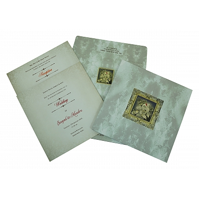Ivory Matte Box Themed - Foil Stamped Wedding Invitation : CW-2306 - IndianWeddingCards