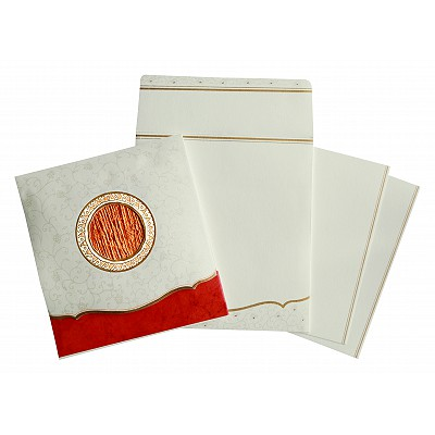 Ivory Matte Embossed Wedding Invitation : CD-1171 - IndianWeddingCards