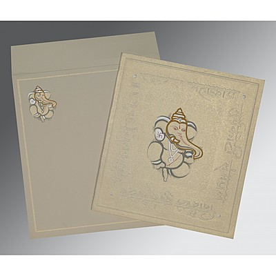 Ivory Matte Embossed Wedding Invitation : CIN-2068 - IndianWeddingCards