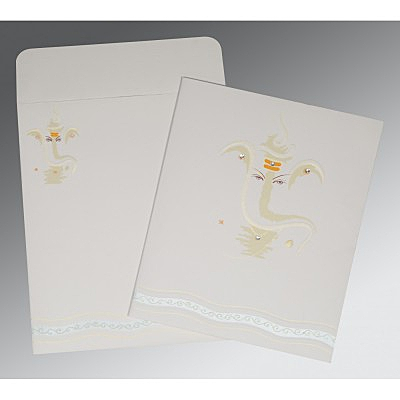 Ivory Matte Embossed Wedding Card : CIN-2169
