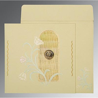 Ivory Matte Embossed Wedding Card : CRU-1203