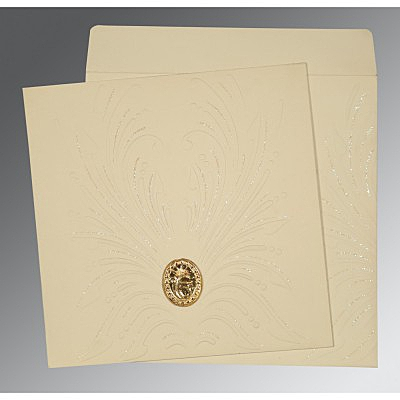 Ivory Matte Embossed Wedding Invitation : CS-1188 - IndianWeddingCards