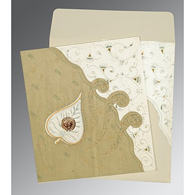 Ivory Matte Embossed Wedding Invitation : CS-1197