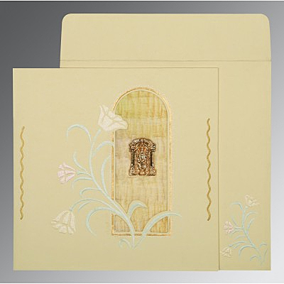 Ivory Matte Embossed Wedding Card : CSO-1203