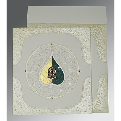 Ivory Matte Embossed Wedding Card : CW-1153 - IndianWeddingCards