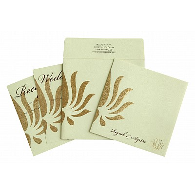 Ivory Matte Embossed Wedding Invitation : CW-1738 - IndianWeddingCards