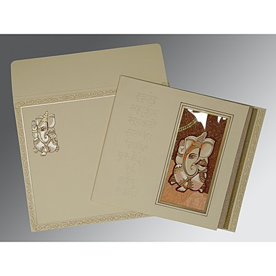 Ivory Matte Embossed Wedding Card : CW-2005 - IndianWeddingCards