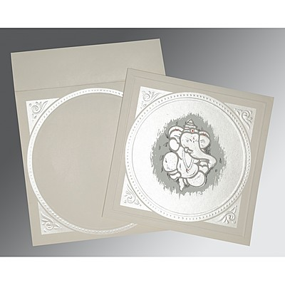 Ivory Matte Embossed Wedding Card : CW-2015 - IndianWeddingCards