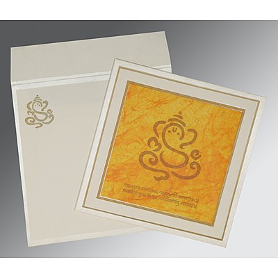 Ivory Matte Embossed Wedding Invitation : CW-2040