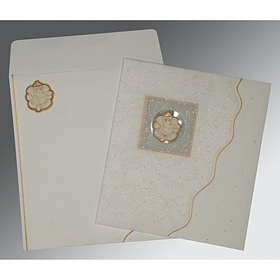 Ivory Matte Embossed Wedding Invitation : CW-2076 - IndianWeddingCards