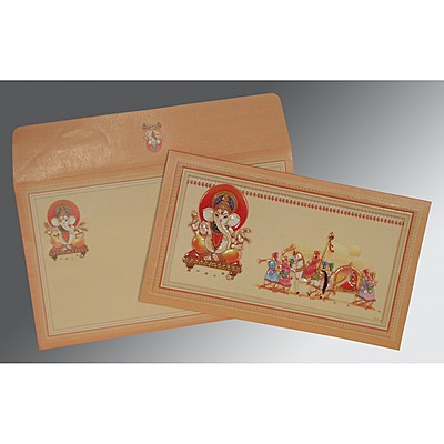 Ivory Matte Embossed Wedding Card : CW-2081 - IndianWeddingCards