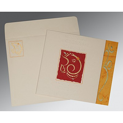 Ivory Matte Embossed Wedding Invitation : CW-2115 - IndianWeddingCards