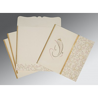 Ivory Matte Embossed Wedding Invitation : CW-2153 - IndianWeddingCards