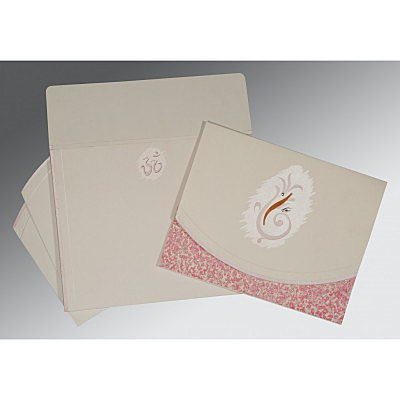 Ivory Matte Embossed Wedding Invitation : CW-2163 - IndianWeddingCards