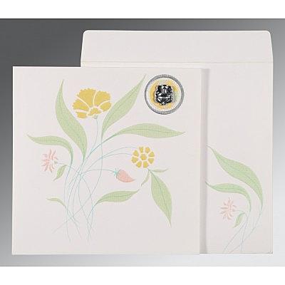 Ivory Matte Floral Themed - Embossed Wedding Invitation : CIN-1114 - IndianWeddingCards