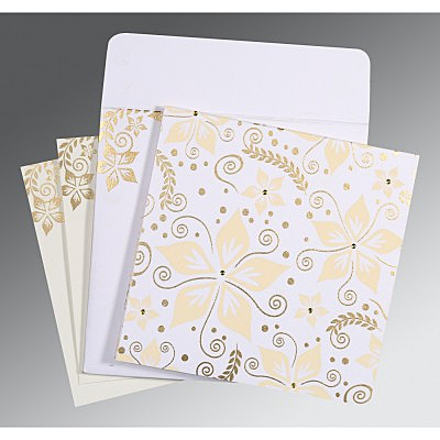 Ivory Matte Floral Themed - Screen Printed Wedding Invitation : CD-8240D - IndianWeddingCards
