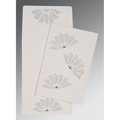 Ivory Matte Floral Themed - Screen Printed Wedding Invitation : CI-1254 - IndianWeddingCards