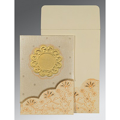 Ivory Matte Floral Themed - Screen Printed Wedding Card : CS-1183 - IndianWeddingCards
