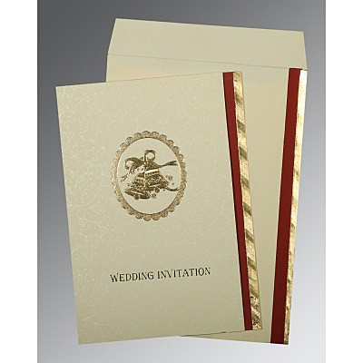 Ivory Matte Foil Stamped Wedding Card : CC-0021 - IndianWeddingCards