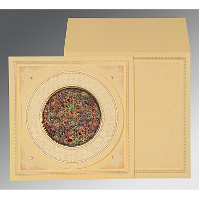 Ivory Matte Foil Stamped Wedding Invitation : CD-1101 - IndianWeddingCards