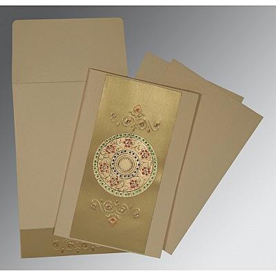 Ivory Matte Foil Stamped Wedding Card : CRU-1407