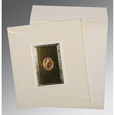 Ivory Matte Foil Stamped Wedding Invitation : CRU-1437