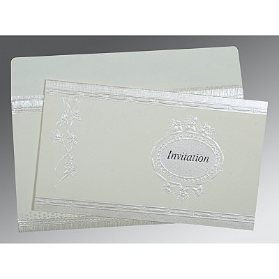 Ivory Matte Foil Stamped Wedding Card : CW-1328 - IndianWeddingCards