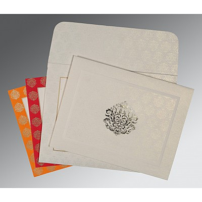 Ivory Matte Foil Stamped Wedding Card : CW-1502 - IndianWeddingCards