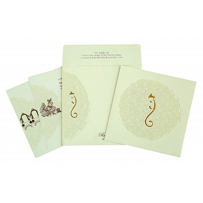 Ivory Matte Foil Stamped Wedding Invitation : CW-2297 - IndianWeddingCards