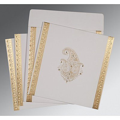Ivory Matte Paisley Themed - Embossed Wedding Invitation : CD-8231J - IndianWeddingCards