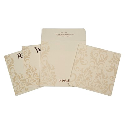 Ivory Matte Screen Printed Wedding Card : CD-1739 - IndianWeddingCards