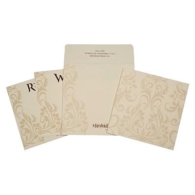 Ivory Matte Screen Printed Wedding Invitations : CD-1739 - IndianWeddingCards