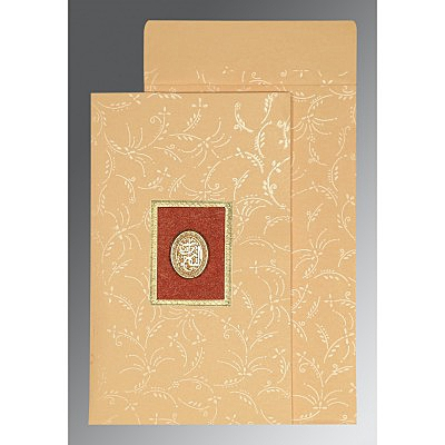 Ivory Matte Screen Printed Wedding Card : CI-1303 - IndianWeddingCards