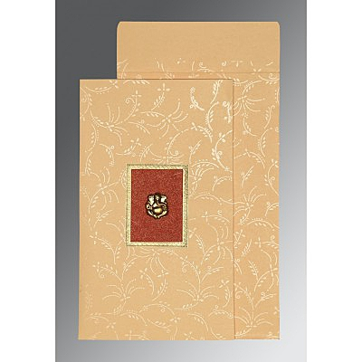 Ivory Matte Screen Printed Wedding Card : CIN-1303 - IndianWeddingCards