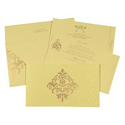 Ivory Shimmery Damask Themed - Screen Printed Wedding Card : CIN-8257B - IndianWeddingCards