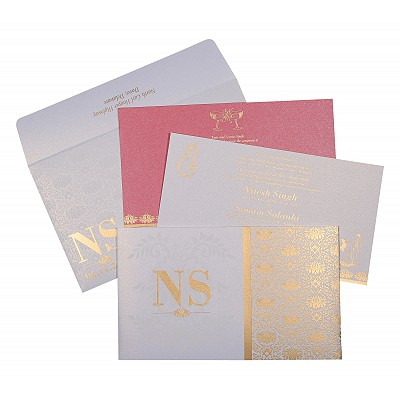 Ivory Shimmery Damask Themed - Screen Printed Wedding Invitation : CW-8261F - IndianWeddingCards