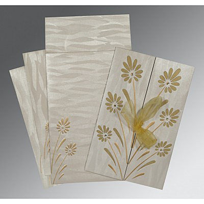 Ivory Shimmery Floral Themed - Embossed Wedding Card : CI-1372 - IndianWeddingCards