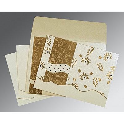 Ivory Shimmery Floral Themed - Embossed Wedding Invitation : CS-8236B - IndianWeddingCards