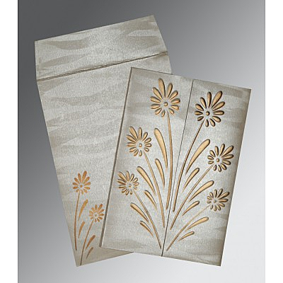Ivory Shimmery Floral Themed - Embossed Wedding Card : CW-1378 - IndianWeddingCards