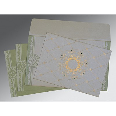 Ivory Shimmery Floral Themed - Screen Printed Wedding Card : CC-8227J - IndianWeddingCards