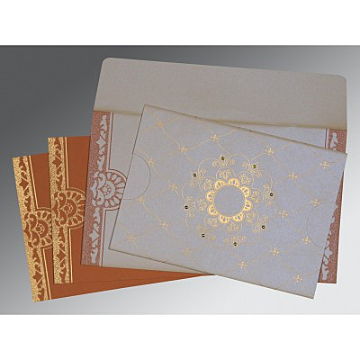 Ivory Shimmery Floral Themed - Screen Printed Wedding Card : CC-8227L - IndianWeddingCards