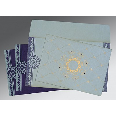 Ivory Shimmery Floral Themed - Screen Printed Wedding Card : CD-8227E - IndianWeddingCards