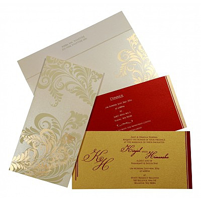 Ivory Shimmery Floral Themed - Screen Printed Wedding Card : CG-8259A - IndianWeddingCards